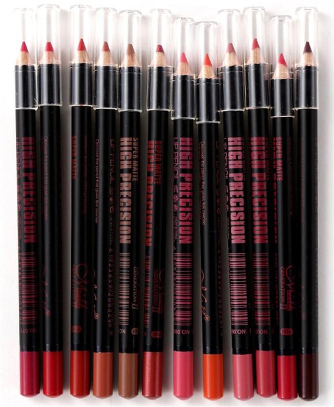 MN Super Matte High Precision Lip Pencil Pack of 12(Multicolor)