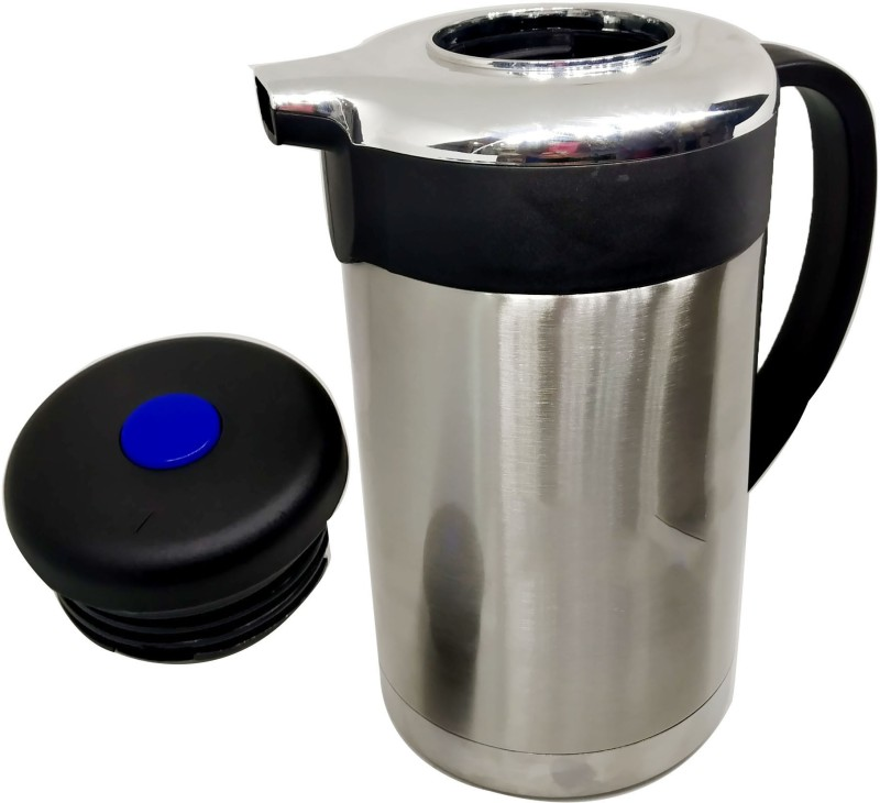 Megalite NEW ARRIVAL attractive designs Stainless Thermo Steel Double-Wall Vacuum Insulated Thermo Jug Hot Water Bottle Coffee,Tea, Beverage Coffee Pot, Jug Flask 18/8 Capacity-1 L Multipurpose Special Gift Pack, Self Use; and Diwali, Dhanteras & Festive Gifts Pot 1.3 L with Lid(Stainless Steel, Non