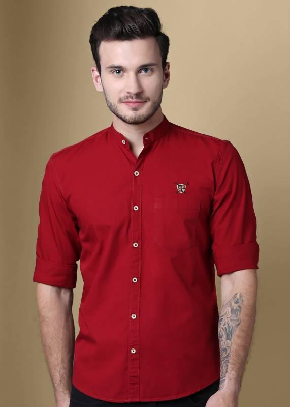 GHPC Men Solid Casual Maroon Shirt