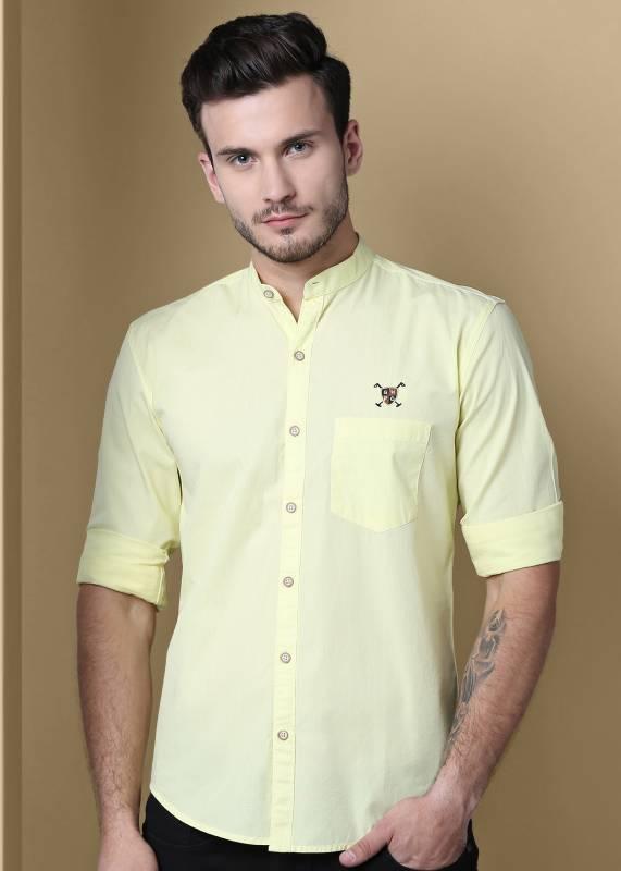 GHPC Men Solid Casual Yellow Shirt