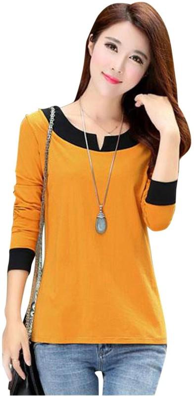 Feldspar Casual Full Sleeve Solid Women's Yellow Top