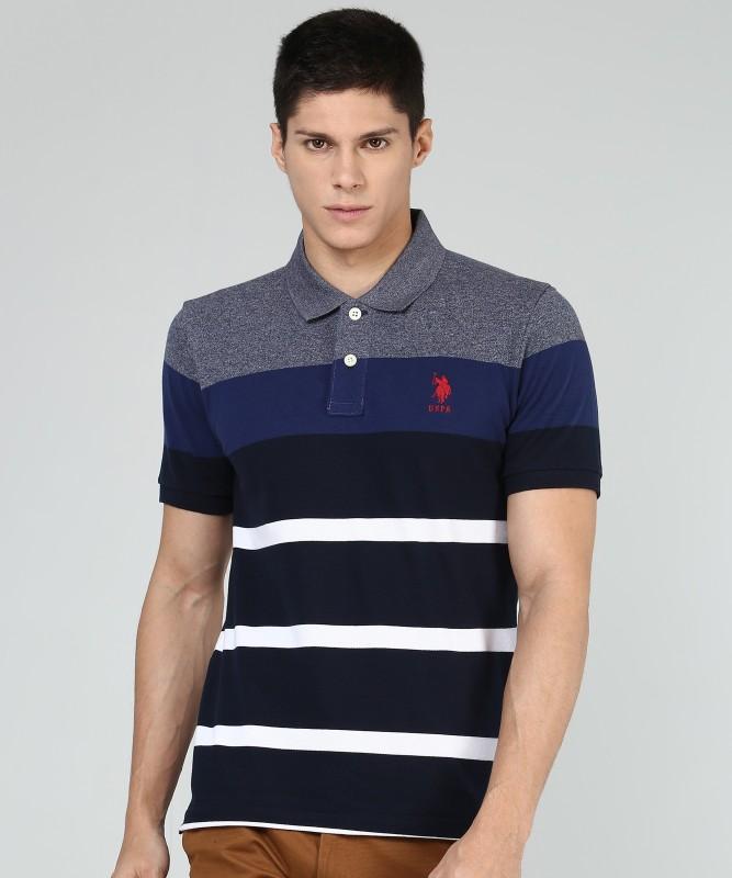 U.S. Polo Assn Striped Men Polo Neck Multicolor T-Shirt