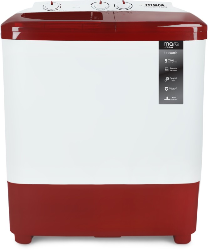 MarQ by Flipkart 6.5 kg Semi Automatic Top Load White, Maroon(MQSA65DXI)