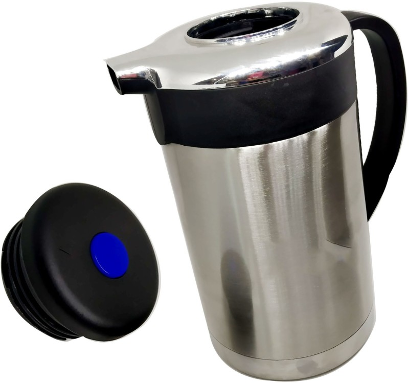 Megalite GOOD quality attractive designs Stainless Thermo Steel Double-Wall Vacuum Insulated Thermo Jug Hot Water Bottle Coffee,Tea, Beverage Coffee Pot, Jug Flask 18/8 Capacity-1 L Multipurpose Special Gift Pack, Self Use; and Diwali, Dhanteras & Festive Gifts Pot 1.3 L with Lid(Stainless Steel, No