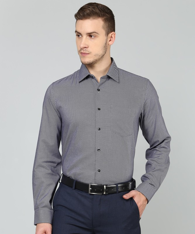 Van Heusen Men Self Design Formal Black, Grey Shirt