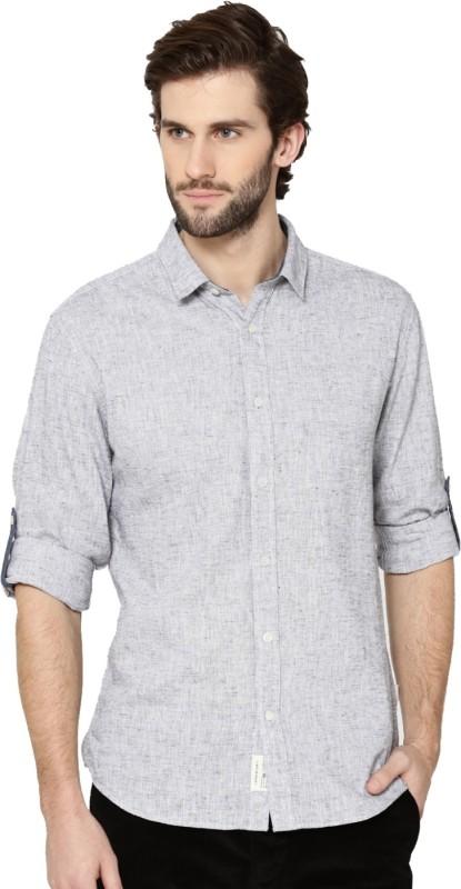 Jack & Jones Men Self Design Casual Grey Shirt