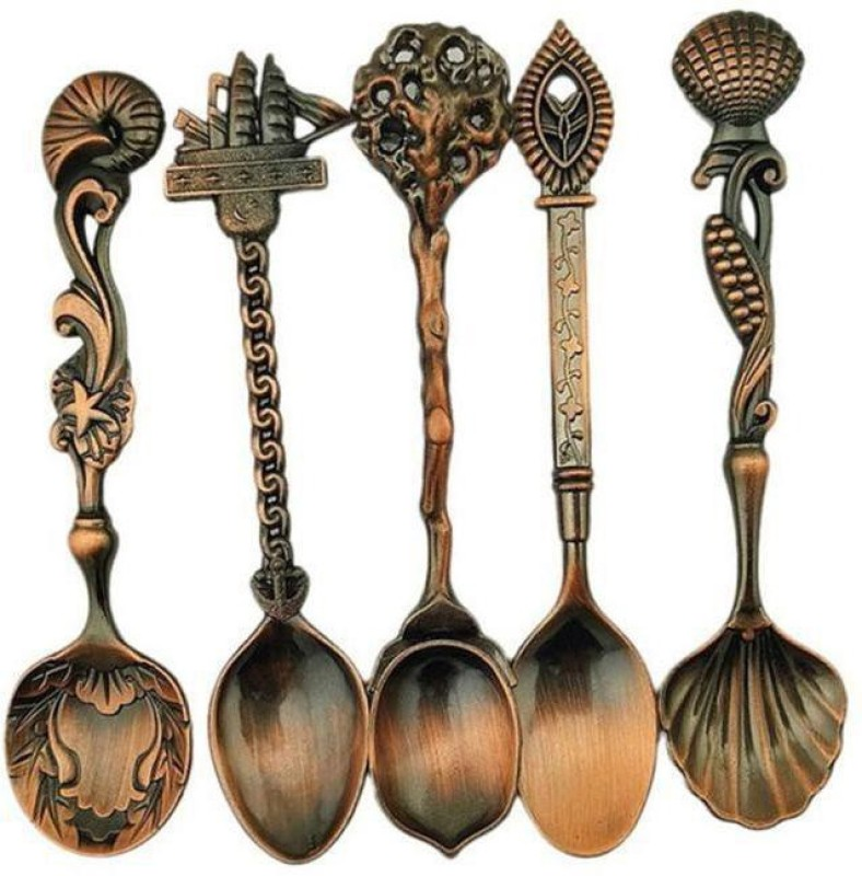 SBE New Arrivals Royal Style Carved Small Coffee Spoon Flatware Cutlery Kitchen Dining Bar Tools Bronze Coffee Spoon Set(Pack of 5)