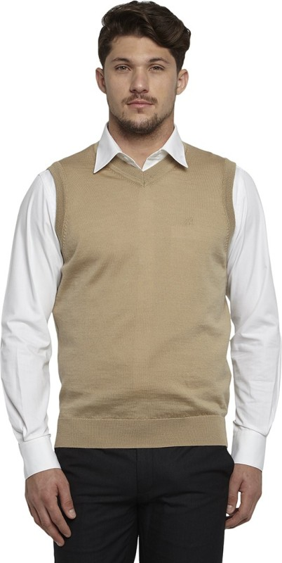 Raymond Solid V-neck Casual Men Beige Sweater
