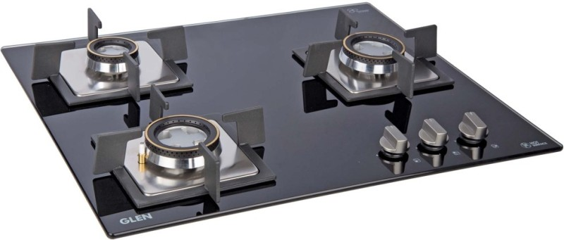 GLEN Auto Built in Hob 1063 SQ Double Brass burners Glass Automatic Gas Stove(3 Burners)