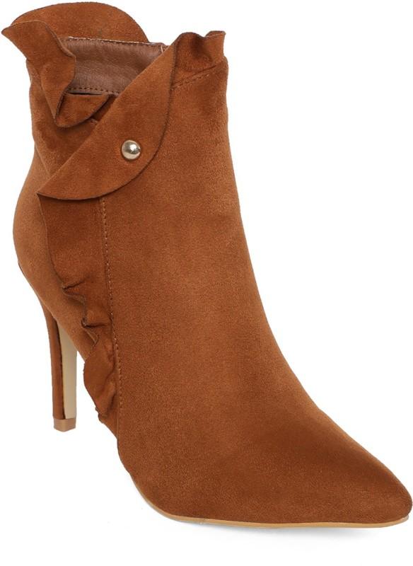 Kielz Camel-Women-Stiletto-Boots High Tops For Women(Brown)