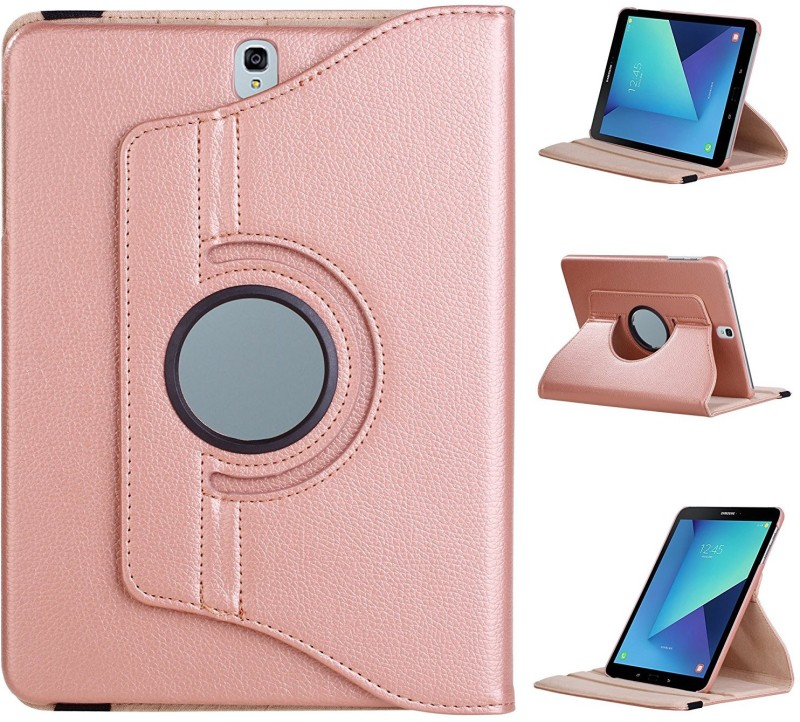 TGK Book Cover for Samsung Galaxy Tab S3 9.7 Inch (Sm-T820, T825) 360 Degree Rotating Leather Flip Case Stand(Gold, Cases with Holder)