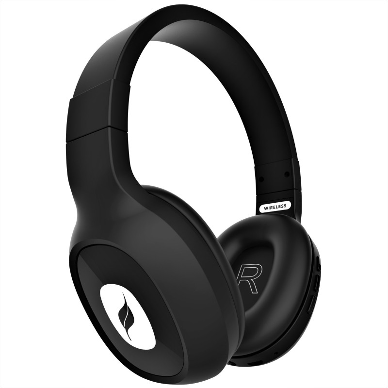 Leaf Ear Bass 2 Wireless with 15 Hours Battery Life and Deep Bass Bluetooth Headset with Mic(Carbon Black, Over the Ear)
