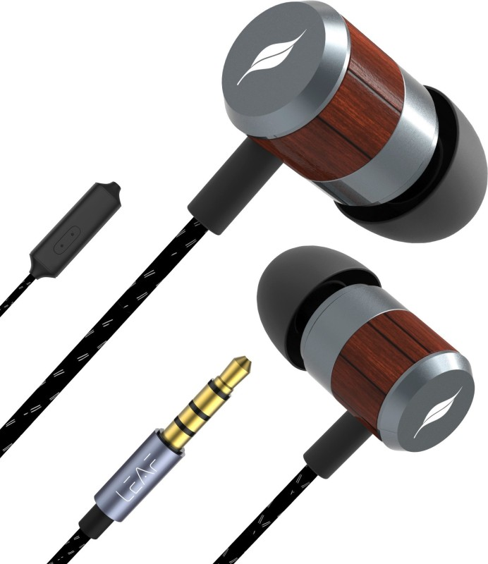 Leaf Ear Bolt Wooden Wired Earphones with Mic and In-line remote Control Wired Headset with Mic(Classic Wood, In the Ear)