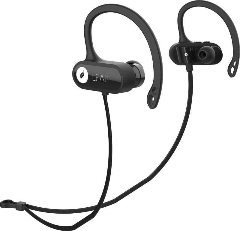 Leaf Ear 2 Wireless with Sports Earhook and 7 Hours Battery Life Bluetooth Headset with Mic(Carbon black, In the Ear)