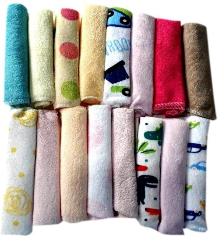 Poddar Fashion Square Hosiery Napkins Newborn Baby Soft Cotton Face Towels Baby Hanky (Beautiful Multicoloured) Handkerchief(Pack of 16)