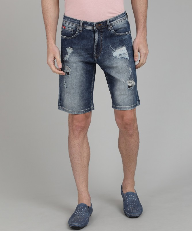 Lee Cooper Distressed Men's Dark Blue Denim Shorts