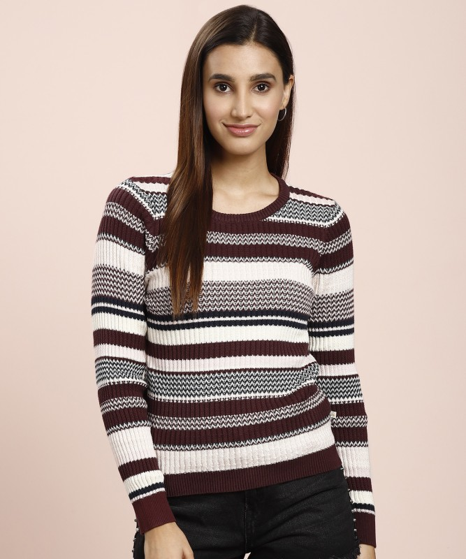 United Colors of Benetton Striped Round Neck Casual Women Multicolor Sweater