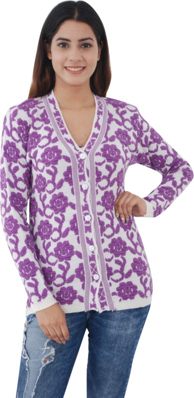 Shree Mark Women's Button Embroidered Cardigan