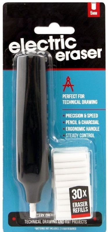 kraftmasters ART Mont Mart Electric Eraser with 30 Pieces Refills Cordless Electric Eraser
