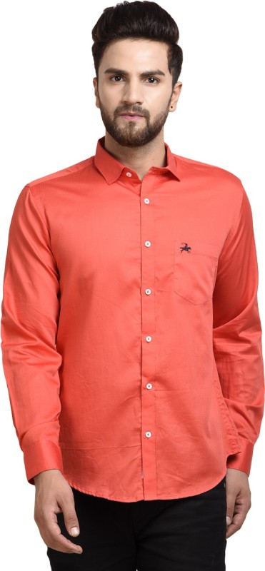 WESTLAND'S COWBOY Men Solid Casual Orange Shirt