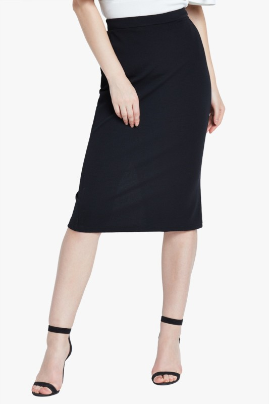 AND Solid Women Pencil Black Skirt