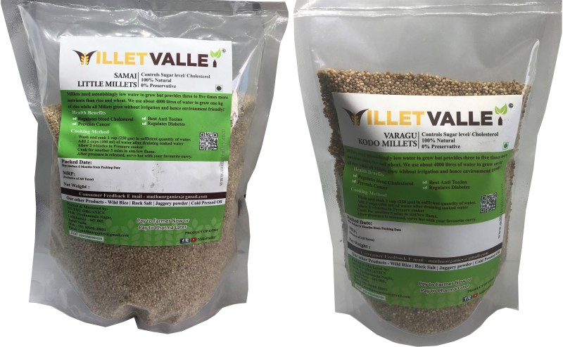 millet valley Kodo & Little Millet /Samai + Varagu 400g each Mixed Millet(800 g, Pack of 2)