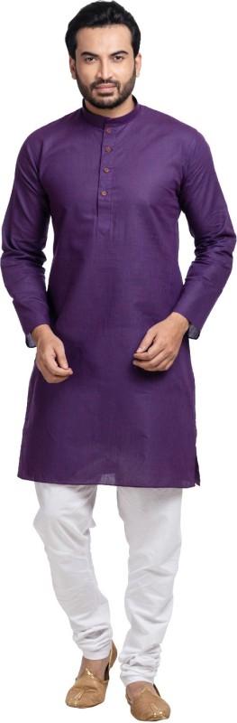 SHAHZADA Men's Solid Straight Kurta(Purple)