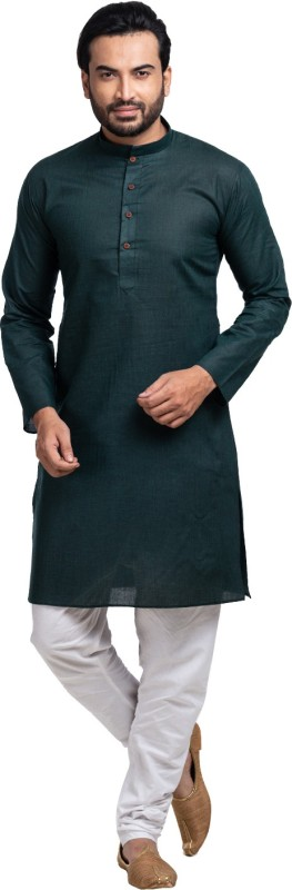 SHAHZADA Men's Solid Straight Kurta(Dark Green)