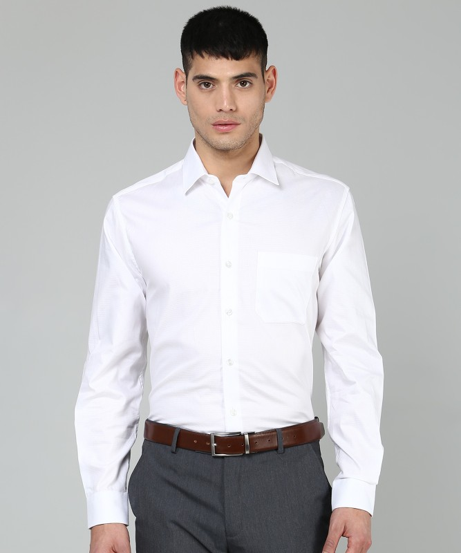 Louis Philippe Men's Self Design Formal White Shirt