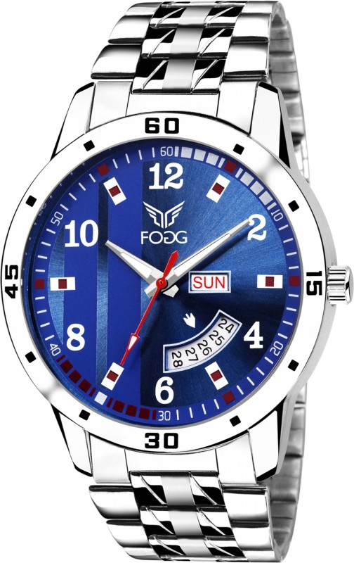 Fogg 2058-BL Printed Blue Day and Date Analog Watch - For Men