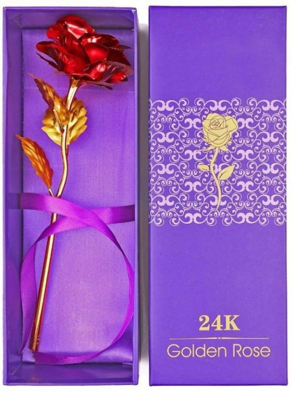 Rangoli Rangoli 24K Gold Red Rose Red, Gold Rose Artificial Flower(8 inch, Pack of 1)
