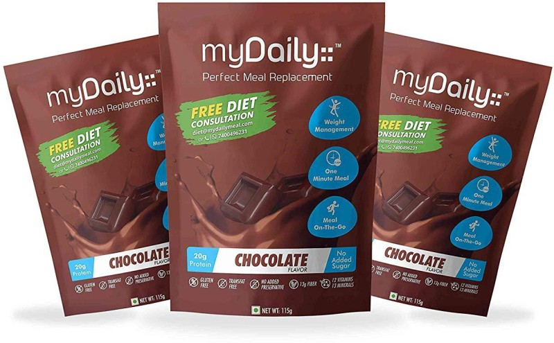 myDaily Perfect Meal Replacement for weight loss, Pack of 3 ( Chocolate flavor ) Protein Blends(445 g, Chocolate)