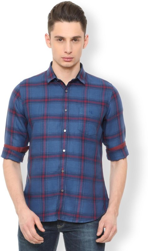 Van Heusen Men Checkered Casual Blue Shirt