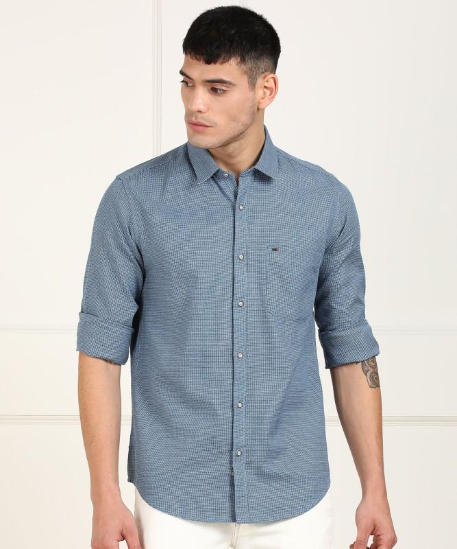Peter England Men Self Design Casual Blue Shirt