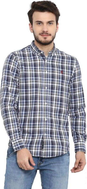 Red Tape Men's Checkered Casual White, Blue Shirt