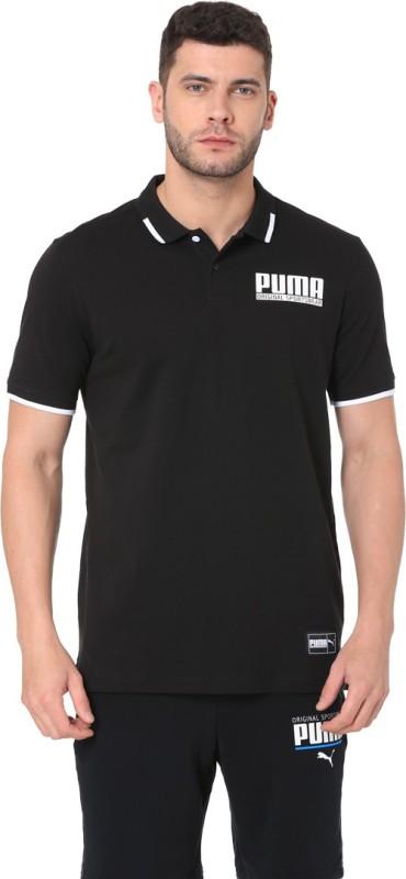Puma Printed Men Polo Neck Black T-Shirt