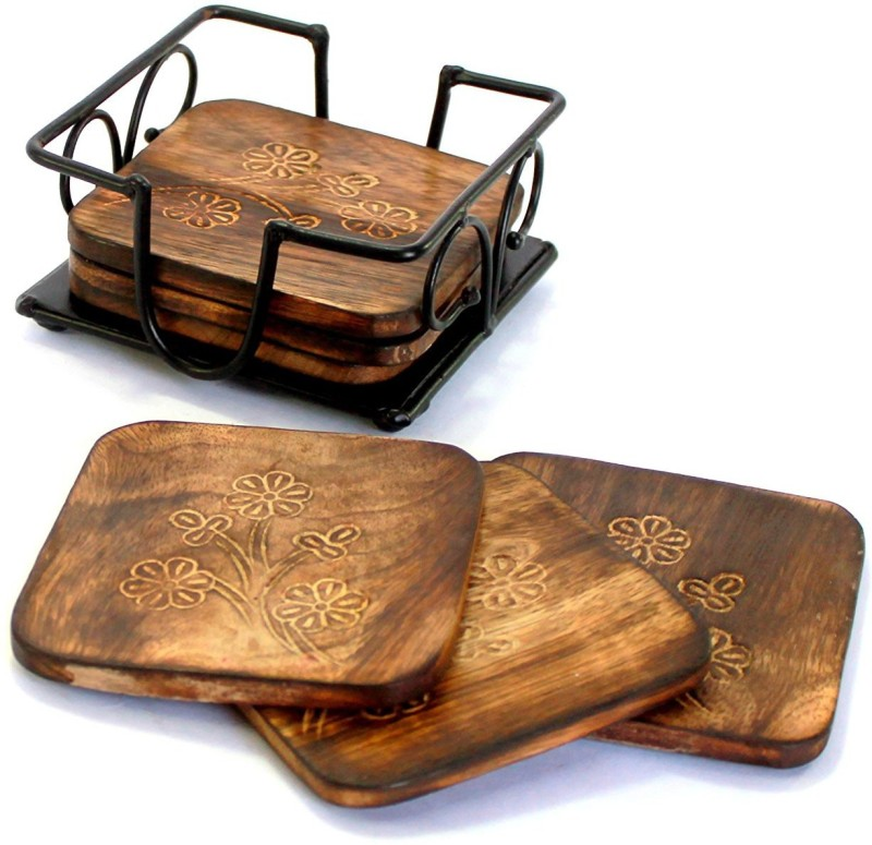 Worthy Shoppee Square Wood Coaster(Pack of 6)
