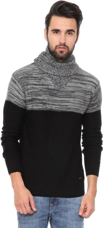 People Self Design Turtle Neck Casual Men Black Sweater