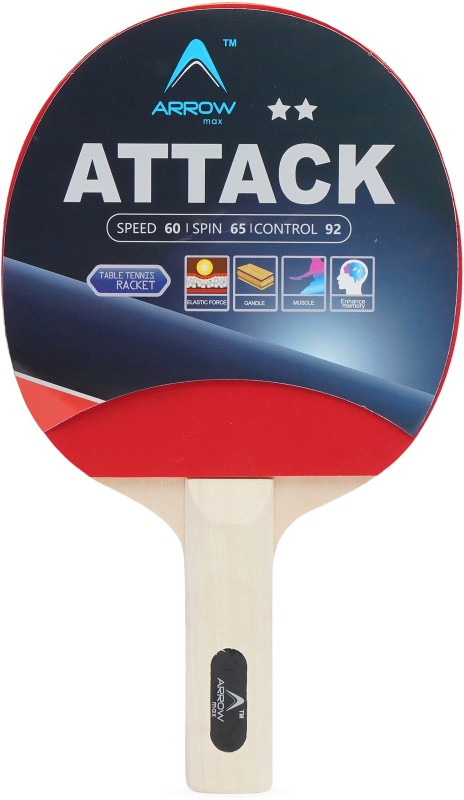 Arrowmax ATTACK BY ONE SHOT RETAIL Multicolor Table Tennis Racquet(250 g)