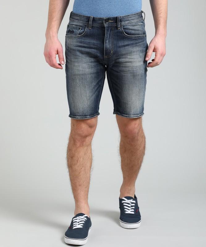 Superdry Distressed Men Blue Denim Shorts