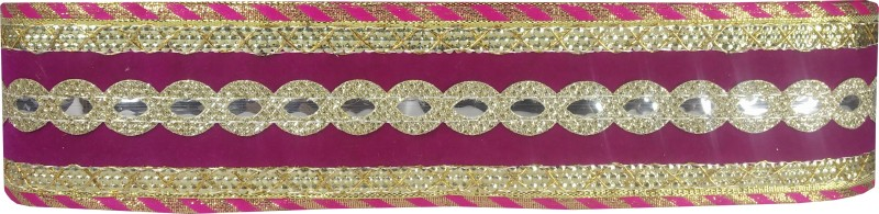 Utkarsh WG0035 WG0031 Pink And Golden Lace Gota Patti With Golden Sparkling Design Machine Made Embroidery Lace Border With 2 Inch Width And 9 Mtr Long Lace Reel(Pack of 1)