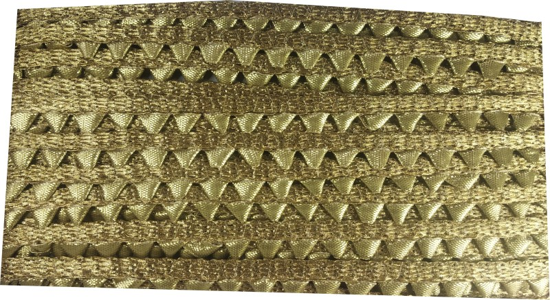 Utkarsh WG0024 WG0020 Golden Lace Patta Gota Patti With Mini Golden Triangles Design Machine Made Embroidery Lace Border With 0.3 Inch Width And 9 Mtr Long Lace Reel(Pack of 1)