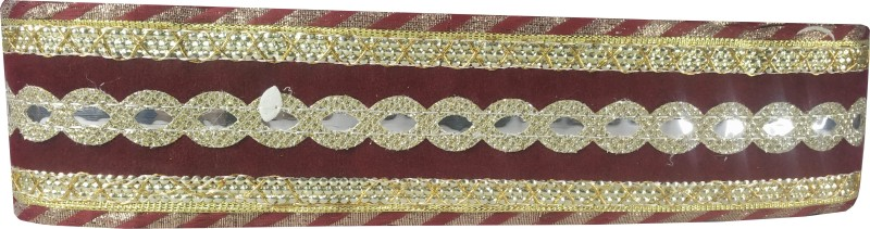 Utkarsh WG0034 WG0030 Maroon And Golden Lace Gota Patti With Golden Sparkling Design Machine Made Embroidery Lace Border With 2 Inch Width And 9 Mtr Long Lace Reel(Pack of 1)