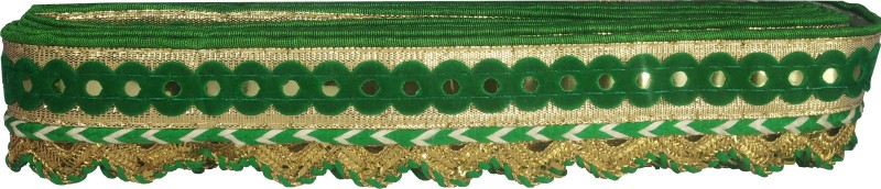 Utkarsh WG0027 WG0023 Green And Golden Machine Made Embroidery Lace Border Laces Gota Patti With 1.5 Inch Width And 9 Mtr Long Lace Reel(Pack of 1)