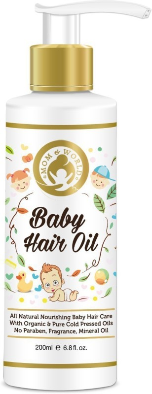 Mom & World Baby Hair Oil, 200ml - With Organic & ColdPressed Natural Oil for Kids Hair Oil(200 ml)
