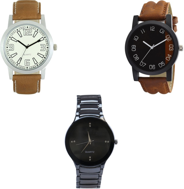 NIKOLA Treading Fashionable Brown And Black Color 3 Watch Combo (BL46.15-B36-B67) For Boys And Men New Unique Combo Analog Watch  - For Men