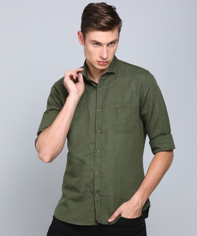 Peter England University Men Solid Casual Green Shirt