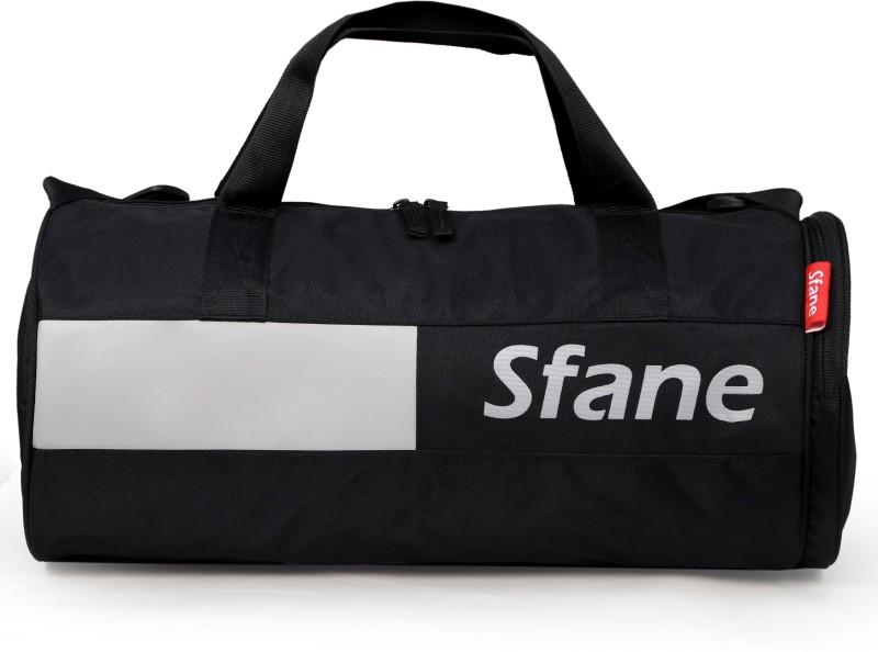 sfane Black & Gray Leather Sports Duffel Gym Bag(Black, Grey)