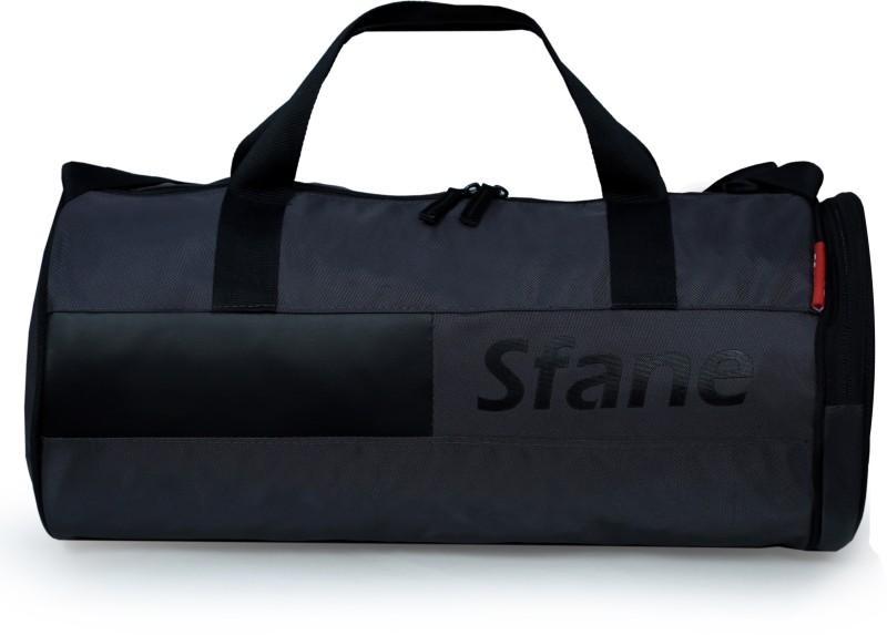 sfane Gray & Black Leather Sports Duffel Gym Bag(Black)