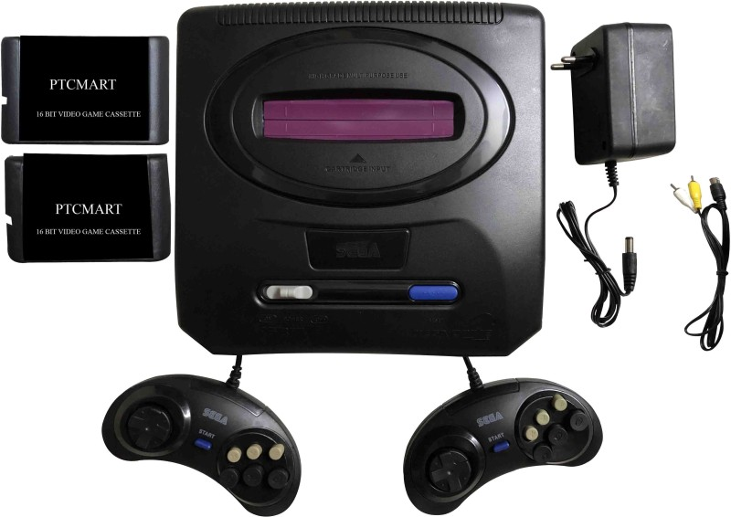 PTCMart Sega 16 Bit Tv Video Game With 2 Cassette Game Including Sonic N/A GB with 20 to 25 games(Multicolor)